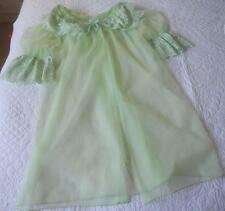 VINTAGE 1960'S LADIES SYLRAY BRAND SHEER GREEN NYLON PIN UP BABY DOLL NEGLIGEE W