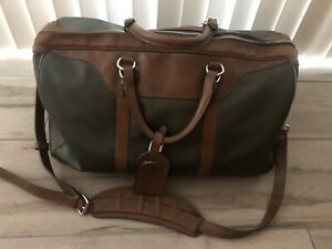 """Mulholland Leather Duffle Hippo Green/Brown 20"""" x 12"""" x 13"""" Overnight Travel"""