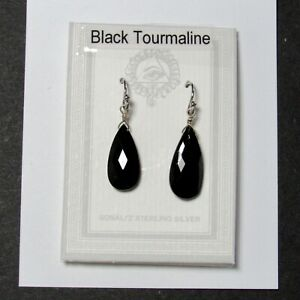 EARRINGS Tourmaline Black faceted drops Sterling Silver Hook   1 7/8 inch NEW