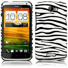For HTC One X Zebra Skin PU Leather Hard Back Case Cover