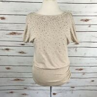 White House Black Market Embellished Elastic Waist Knit Top Beaded Stud Size M