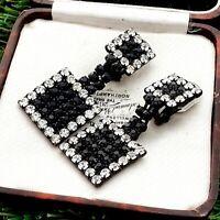 Vintage 1980s Geometric Design Dangle Black & Diamante Clip on Earrings