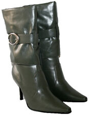 LADIES GREY CALF LENGTH FASHION BOOT WITH SIDE ZIP IN SIZE 8
