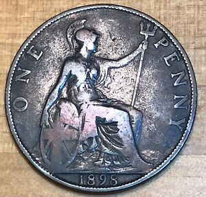 Great Britain 1898 Penny UK Victoria Bronze Coin