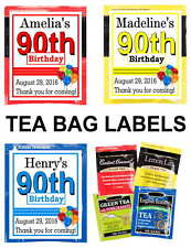 90TH BIRTHDAY PARTY FAVORS TEA BAG LABELS TEA PARTY