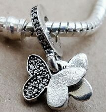 Silver BUTTERFLY Just Because Love Gift Bead Pendant fit European Charm Bracelet