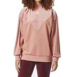 Adidas Womens Velvet Vibes V Crew Sweatshirt CW0268 Sweatshirt Salmon