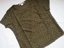 HEINE Ashley Brooke exklusives Spitzen - Shirt, Gr. 44, khaki, blickdicht, NEU