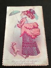 More details for large victorian valentines card ( lady with her pet dog )