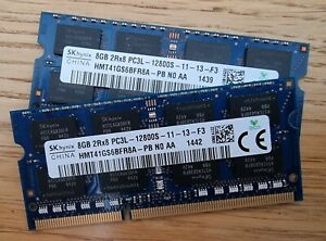 16GB total - 2 x 8GB Hynix HMT41GS6BFR8A-PB  PC3-12800 (DDR3-1600)