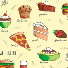 HEALTHY EATS~INK & ARROW~QT FABRIC~BY 1/2 YD~HOW TO EAT HEALTHY~YELLOW~JUNK FOOD