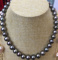"18""Natural 9-10 Mm Aaa South Sea Black Pearl Necklace 14k Gold Clasp"