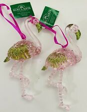 Kurt Adler  2 Pink and Green Acrylic Pink Flamingo Christmas Ornaments lot  NWT