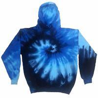 Blue TIE DYE HOODIE Sweater Tye Die T Shirt Festival Rainbow Jumper Festival Tee