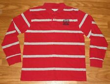 Wrangler -Boys 14/16 Xl Extra Large- Long Sleeve Polo Shirt Red Gray Stripe Euc