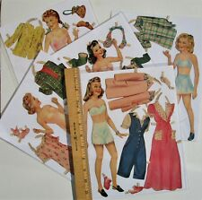 Vintage paper dolls - 5 teenage girls w/ clothes & Acces - pre-cut