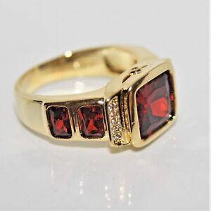 Rubin Granat rot  1a Damen Herren Ring Gold 18 K GF gest (750) Gr. 63 Ø 20,0 mm