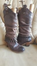 FLY London Brown Leather Cowboy Boots knitting  Size 4UK EU 37 heel slouch