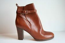 JCrew Felix High-Heel Boots Size 9.5 Burnt Spice Brown Ankle Buckle $298