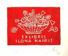 Exlibris original Gipsschnitt - Blumenkorb - Franz Grickschat Nr 24 signiert