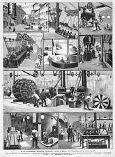 Siemens u. Halske, Werkstätten in Berlin, Sammelblatt, Original- Holzstich 1891