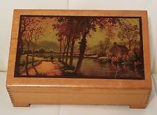 Vintage Wooden Jewlery Or Trinket Box Lake Scene Collectible