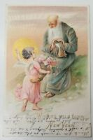 Embossed New Year, FATHER TIME, BABY ANGEL CHERUB Gilded Postcard