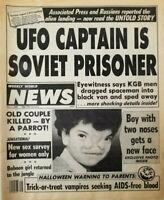 Weekly World News Nov 7 1989 UFO Captain Soviet Prisoner KGB - Halloween AIDS