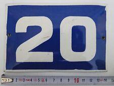 VINTAGE Enameled Porcelain  Tin  SIGN House/Door  Number 20 -5.8 in/3.8 inA2#