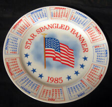 "VINTAGE SPENCER GIFTS 1985 9"" CALENDAR PLATE STAR SPANGLED BANNER JAPAN"