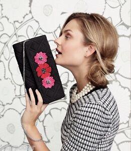 🌺 VERA BRADLEY Celebration Clutch CLASSIC BLACK CHEERY BLOSSOMS Bag Purse $58