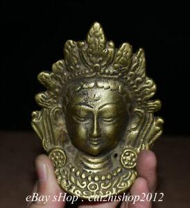 Collect Old Tibetan Copper Buddhism Tara Goddess Buddha Head Amulet Pendants