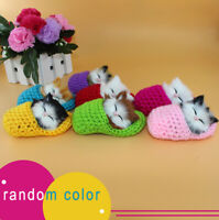 1X Cute Slipper Kitten Soft Plush Doll Toys Sound Stuffed Animal Baby Kids Gift.