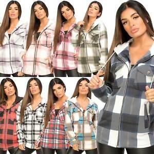 Womens Check Fleece Casual Jacket Hooded Zipper Zip Up Top Tunic Shirt Shacket