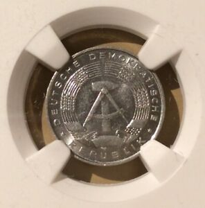 1968 A EAST GERMANY One Pfennig NGC MS 62
