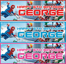 2 x personalised lego spider man avengers birthday banner children party deco