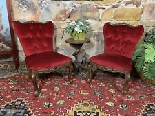 Pair Vintage French Louis Style Chair~Bedroom or Hall-Deep Red Velvet