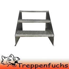 3 Stufen Standtreppe Stahltreppe freistehend Breite 80cm Höhe 63cm verzinkt