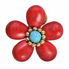 Tropical Elegance Red Coral & Simulated Turquoise Flower Statement Ring