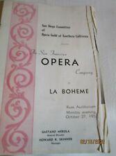 1952 Vintage The San Francisco Opera Company in La Boheme Program Advertising