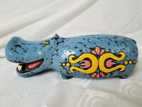 "Blue Hippopotamus Hippo Ceramic Piggy Bank Japan Groovy 10"" Vtg 60s 70s"