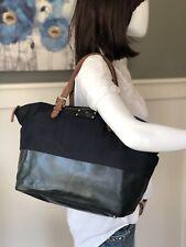 KATE SPADE Blue Denim Dipped Leather Trim Large Satchel Tote Handbag Purse