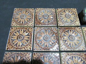 ~ LOT OF 11 ANTIQUE VICTORIAN TILES 3 SQUARE ~ ARCHITECTURAL SALVAGE