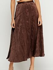 New-Chocolate Brown Crinkle Satin Long Lined Flared Skirt-Summer Party-18