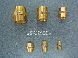 BRASS HEX NIPPLE BSP MALE TO MALE IN VARIOUS SIZES