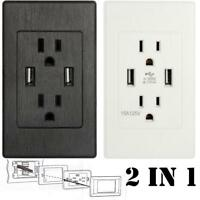 Dual USB Port Wall Socket Charger AC Power Receptacle Outlet Plate Power Adapter