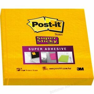 3M Post-it Super Sticky 76x76mm Daffodil Yellow 1,3,6,12,24,72 pk - 654S