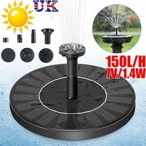 Solar Powered Floating Pump Water Fountain Bird Bath Pond Garden Pool Decor UK