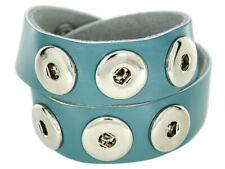 Doppeltes Chunk Leder Armband hell blau 6 Druckknöpfe Click Button KetteRing NEU
