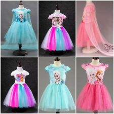 Girl Dress Elssa Princess Anna Snow Queen Children Cotton Kids Pink Party Pony